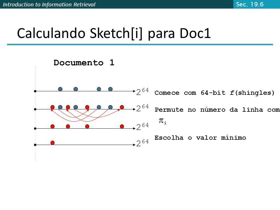 Calculando Sketch[i] para Doc1